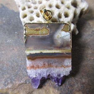 1654 Amethyst geode slice pendant necklace